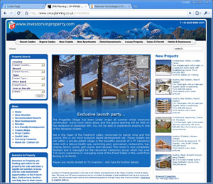 Example of web design, property investment  website